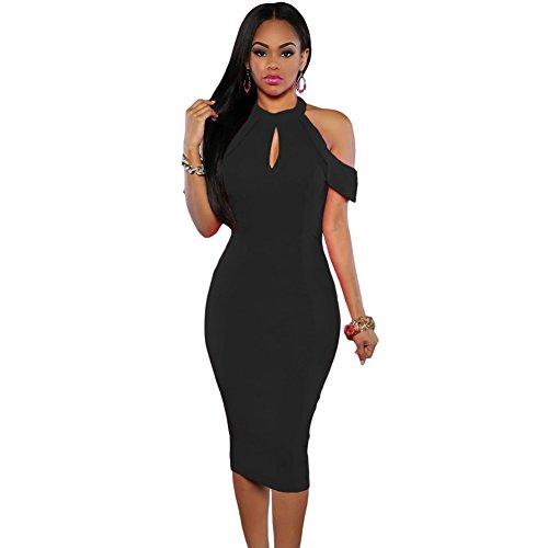meinice Nero Cute freddo spalla ritaglio Halter Midi Dress Black Medium