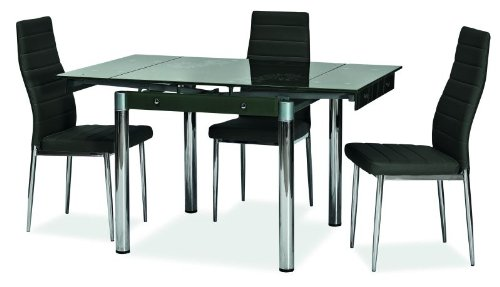 Essgruppe – Design Dining Table with Glass Top, Extending to 131 cm, with Floral black
