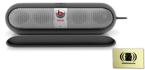Beats By Dr. Dre Pill 2.0 Portable Speaker (Silver) Bundle With Beats Pill Sleeve (Black) And Custom Design Zorro Sounds Cleaning Cloth