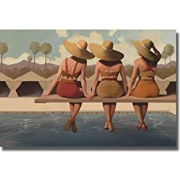 Poolside Chat by Jacqueline Osborn Premium Oversize Gallery Wrapped Canvas Giclee Art (Ready to Hang)