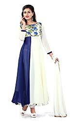 Rudra Fab Blue embroidered georgette semistitched salwar suit