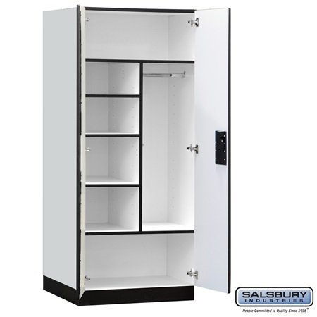 Salsbury 3274Gry Designer Wood Storage Cabinet Combination - 76 Inches High - 24 Inches Deep - Gray front-476161