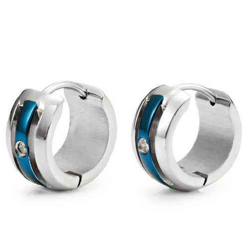 Unique Cubic Zirconia Mens Hoop Huggie CZ Earrings (Silver Blue)