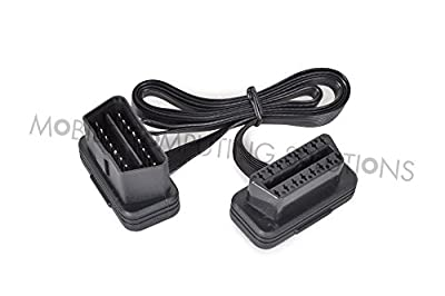 Diageng Low Profile Right or Left Angle OBD 2 II Extension with Flat Ribbon Cable 1'/30cm CAN Bus Compatible