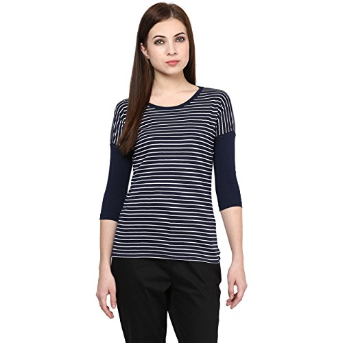 Hypernation-Navy-and-White-Stripe-Round-Neck-T-shirt-For-Women