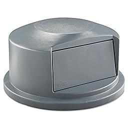 Round Brute Dome Top w/Push Door, 24 13/16 x 12 5/8, Gray