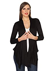 Ten on Ten Womens Black Plain Long Shrug