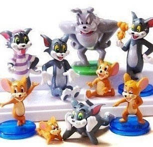 9pcs Popular Anime Tom and Jerry Cute Cartoon Action Figures Toys Funny Playset Set Size: about 1.25