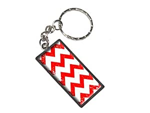 Graphics and More Vintage Chevrons Red Keychain Ring (K1232)
