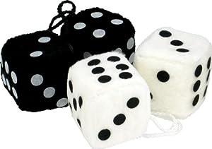 FUZZY DICE -- WHITE w/ BLACK DOTS or BLACK W/ WHITE DOTS
