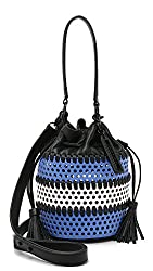 LOEFFLER RANDALL Mini Industry Perforated Woven Leather Bucket Cross Body