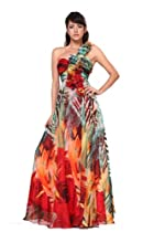 Big Sale Meier Women's Printed Rosettes Strap Chiffon Gown (12, Red Print)