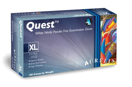 "Aurelia Nitrile Quest Glove, Powder Free, 3 mils Thickness, 9.4"" Length, Extra Small, White (Box of 100)"