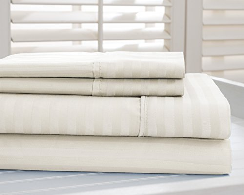 800 Thread Count Cotton Rich Dobby Striped Super Soft Durable Bed Sheets Full Ivory Bedsheets (Hotel New York 800 Thread Count compare prices)