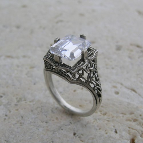 14K White Gold Antique Style Floral Filigree Emerald Shape CZ Ring or Ring Setting