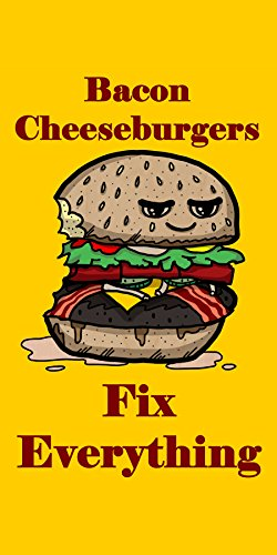 """""""Bacon Cheeseburgers Fix Everything"""" Food Humor Cartoon - Plywood Wood Print Poster Wall Art front-284595"""