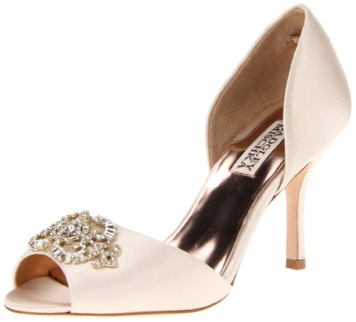 Badgley Mischka Women's Salsa Pump,Vanilla Satin,7.5 M US