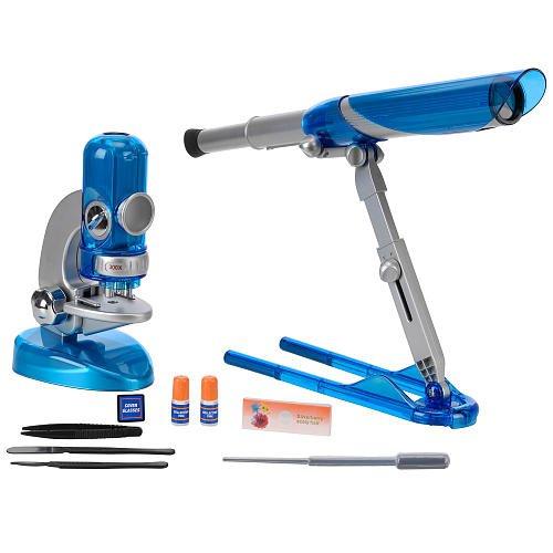 Edu Science Quick-Switch Microscope And Portable Folding Telescope - Blue