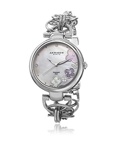 Akribos Xxiv Watch Women'S Twist Chain Quartz Genuine Diamond Dial Watch Argento