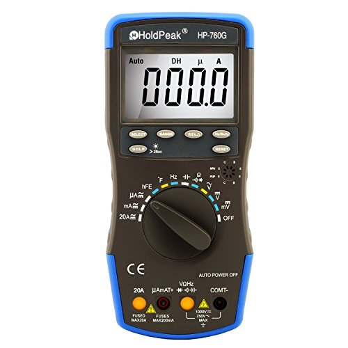 HOLDPEAK 760G Digital Auto-Ranging LCD Multimeter With Diode, hFE And Continuity Test - This Multi Tester is For Electronic Measurement With Data Hold And Backlight In School, Laboratory, Factory And Other Social Field, Blue/Black (Dwell Appliance compare prices)