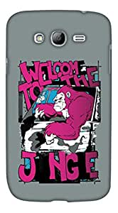 PrintHaat Hard Polycarbonate Designer Back Case Cover for Samsung Galaxy Mega 5.8 I9150 :: Samsung Galaxy Mega Duos I9152 (welcome to the jungle :: chimpanzee party :: funny design :: welcome to the group :: welcome in the club :: in grey, black, white and pink)