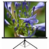 """VIVO 84"""" Portable Projector Screen, 84 Inch Diagonal Projection HD 4:3 Projection Pull Up Foldable Stand Tripod (PS-T-084)"""