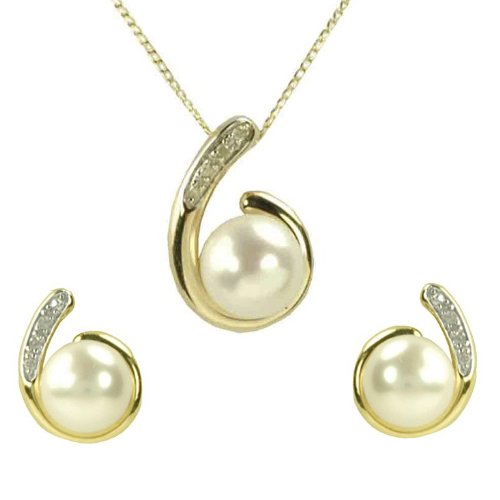 9ct Yellow Gold Diamond Set Figure of 6 Pearl Pendant and Earrings Set + 46cm Curb Chain