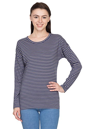 Hypernation-Blue-and-Grey-Stripped-T-Shirts-for-Women