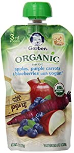 Gerber Third Foods Organic Baby Food Pouch, Apples, Purple Carrots, and Blueberries with Yogurt, 4.23 Ounce (Pack of 12)