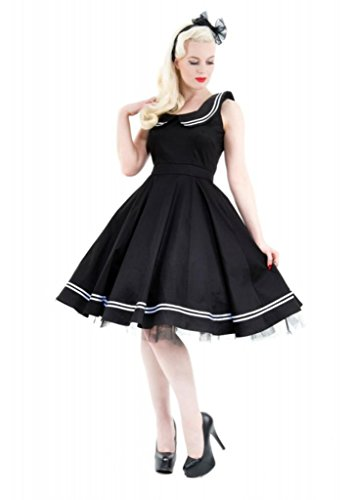 H & R London Black White Piping Cocktail Sailor Dress