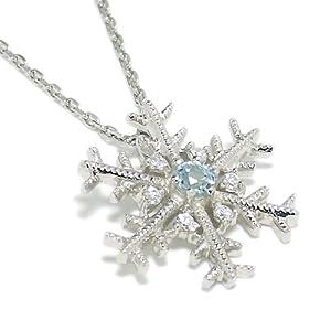 新宿銀の蔵 雪の結晶 11月の誕生石 ブルートパーズ & ジルコニア シルバーネックレス ( ギフト BOX セット )