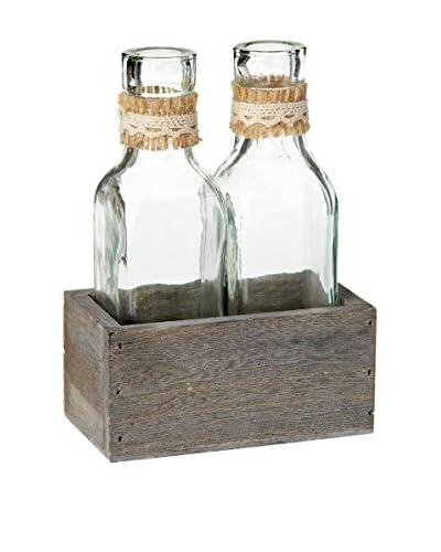 Sage & Co. Burlap Bottles in Holder