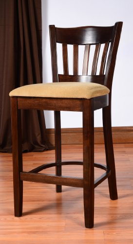 Dime Solid Wood Counter Stool For Kitchen And Dining Room Walnut Finish-Fully Assembled