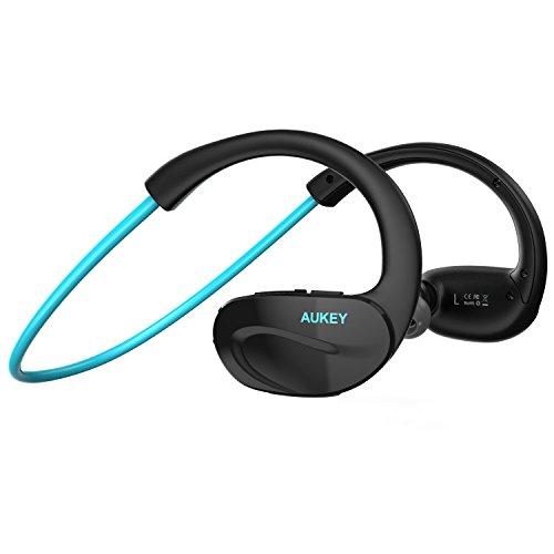 AUKEY Oreillette Bluetooth 4.1 stéréo, Casque Bluetooth audio écouteurs pour le sport ergonomique et anti-transpiration à jogger pour iPhone, Samsung et d'autres appareils Bluetooth (Bleu)