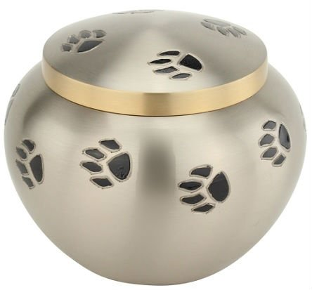 Small Pet Funeral Urn by Liliane - Cremation Urn for Pet Ashes - Hand Made in Brass - Fits the Cremated Remains and Ashes of Dogs, Cats - Attractive Display Burial Urn