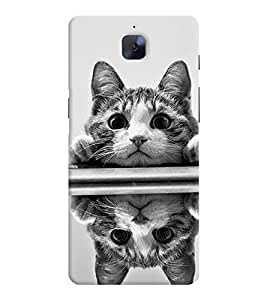 Printvisa Pussy Cat Reflected Image Back Case Cover for OnePlus 3::OnePlus Three