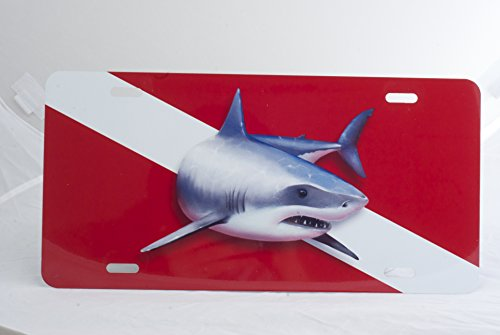 Air Brush Great White Dive Flag Plate Red/White (Shark Flag compare prices)
