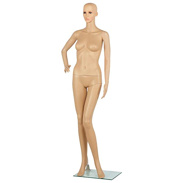 Yaheetech Full Female Mannequin Slapped Dressmaker Dummy Adjustable Detachable 68.9 Height w/Base (Color: Nude, Tamaño: 68.9Height)