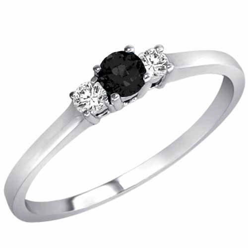 DivaDiamonds Sterling Silver Round 3 Stone Black Diamond & White Diamond Ring (1/4 ctw)