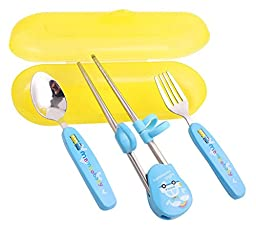 Remeehi New 3 Pcs Portable Travel Training Flatware Cutlery Set Fork Spoon Chopsticks With Case Gift for Kids (Blue)