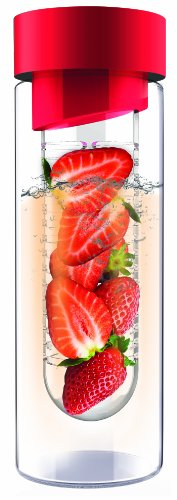 AdNArt Flavour It Glass Water Bottle with Fruit Infuser, Red