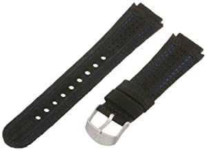 Timex Men's Q7B798 Expedition Sport Leather 18mm Black and Blue Replacement Watchband