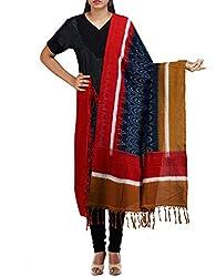 Unnati Silks Women Blue-Multicolor Pure Handloom Pochampally Cotton Dupatta