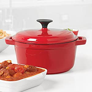 Bella Casserole 2.75 Qt Enameled Cast Iron Pot - Red