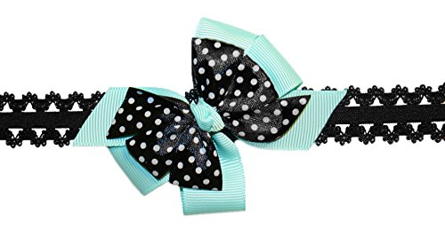 Webb Direct 2U Baby-Girls Infant Dotted Grosgrain Hair Bow Headband Aqua 8010 front-1020612