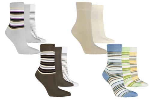 VITASOX 6 Pairs Women Socks with ringed design&uni, without rubber band