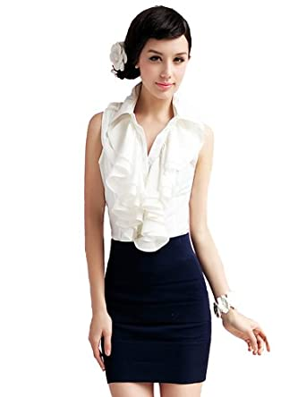 PrettyGuide Women Stand-up Collar Ruffle Sleevesless Blouse Tops Shirts White S/UK6
