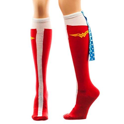 Ufficiale DC Comics stile retrò Wonder Woman Caped Boot calze al ginocchio alta Ladies