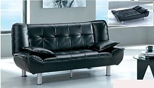 Sofa Sleeper. Adjustable Back, Easy to Use Klik Klak Mechanism, Black Vinyl Sofa Futon Bed Sleeper, Includes Two Pilows