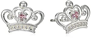 Disney Princess Sterling Silver Pink Crown-Shape Stud Earrings